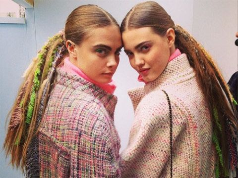 """<p><strong>The look:</strong> Tweed dreads, as pictured on Cara Delevingne and Lindsey Wixson. Hairstylist supremo, Sam McKnight explained: """"I exaggerated a simple pony and blew it up in proportion and detail, incorporating crimped extensions, braided hair in multicoloured Chanel tweed rags, lace and pearls."""" Erm, wow! Makeup featured coordinating colourful eye shadow.</p> <p><strong>The products:</strong> Sam used Fudge Salt Spray then Oribe Texturizer to create a dry volume. He then crimped pieces randomly, woven and braided with the Chanel fabrics.</p> <p><em>Photo credit: Sam McKnight Instagram</em></p>"""