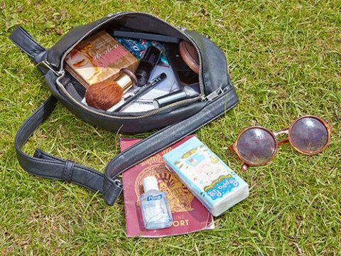 """<p><strong>Katie Farrow, 17, from Gosport</strong></p> <p>""""My studded black Boohoo bumbag is full of all the essentials. My Topshop sunnies are pretty old but they go with everything. I brought handy travel-sized Peppa Pig tissues, hand sanitizer, makeup and my festival passport (with my favourite bands circled – I'm pretty organised!). It's small, but I've managed to fit a lot in!""""</p> <p><a href=""""http://www.cosmopolitan.co.uk/fashion/news/festival-fashion-street-style-isle-of-wight"""" target=""""_blank"""">CHECK OUT THE FESTIVAL FASHION AT THE ISLE OF WIGHT FESTIVAL</a></p> <p><a href=""""http://www.cosmopolitan.co.uk/campus/summer-full-festivals-cheap-volunteering?click=main_sr"""" target=""""_blank"""">6 WAYS TO BAG A SUMMER FULL OF FESTIVALS ON THE CHEAP</a></p> <p><a href=""""http://www.cosmopolitan.co.uk/fashion/shopping/festival-season-essentials?click=main_sr"""" target=""""_blank"""">ALL THE FESTIVAL ESSENTIALS YOU COULD EVER WANT OR NEED</a></p>"""