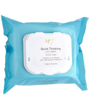 "<strong>NO7 QUICK THINKING 4 IN 1 WIPES, £6 FOR 30</strong><br /><br />•  Contain witch hazel and fennel to clear pores and remove eye makeup.<br /><br /><strong>COSMO'S VERDICT: </strong><br />""The clever plastic seal stops wipes drying out and the hypo-allergenic formula is great for sensitive skin.""<br />7/10"
