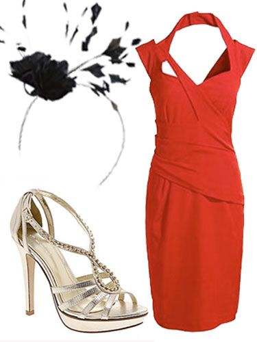 Footwear, Sleeve, High heels, White, Red, Dress, Style, Formal wear, One-piece garment, Sandal,