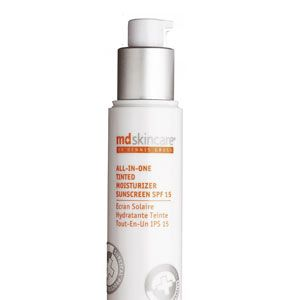 <p>MD Skincare All-In-One Tinted Moisturizer Sunscreen SPF 15, £32<br /><br /></p>