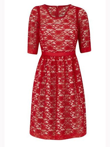 Sleeve, Dress, Pattern, Textile, Red, One-piece garment, Style, Formal wear, Maroon, Carmine,