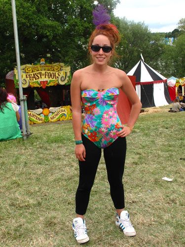 How cute is this Secret Party Girl? Joey snapped up this brightly coloured swimsuit from a charity shop for £2. Worn with leggings, Ray-bans and feathers in her hair we think this is a perfect festival look