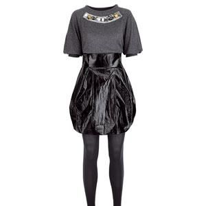 """<strong>1.</strong><br />""""Although it looks scary, this skirt is seriously high fashion - and it's available on the high street. It's super-sexy and will look amazing on a slim build, so if you can, you must!""""<br /><br />Jumper, £39.99 River Island<br />Skirt, £45 Oasis<br />Tights, £8<br />Tights, £8 www.mytights.com<br />"""