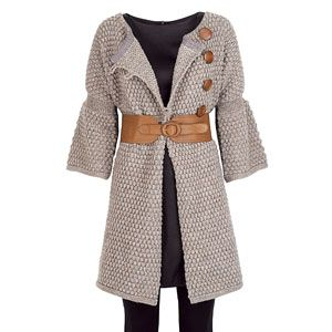 """<p>1<br />""""Stella McCartney showed bulky knits this season. Unfortunately, the chunkier the knit, the chunkier you can look, so combat this fashion faux pas by belting up and showing some womanly curves.""""</p>Dress, £12, George at Asda<br />Cardigan, £55, Topshop<br />Footless tights, £4 Marks & Spencer"""