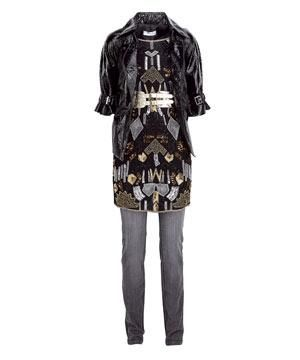 "<strong>1.</strong><br />""Mmmm, black shiny leather, I hear you say. Think rock chick as opposed to biker babe and show off that booty with this short-length, waisted jacket.""<br /><br />Jacket, £75, Topshop<br />Dress, £90, Mango<br />Jeans, £45, Mexx<br />"