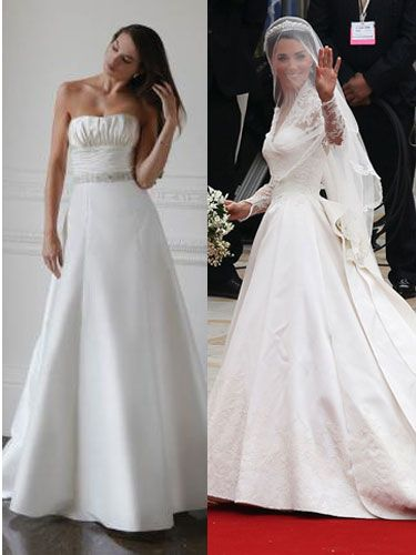 <p>Zara: A Stewart Parvin gown</p> <p>We are led to believe Zara has stuck with a classic, traditional style gown, having chosen a design by the Queen's fave couturier. Although he's the youngest royal couturier, Stewart Parvin has designed outfits for both the Queen and Zara's mum, Princess Anne</p>   <p>Kate's Dress: A Sarah Burton for Alexander McQueen gown</p> <p>Kate's gorge lace Alexander McQueen dress was a huge fashion success. With a 2.7 meter train, lace appliqué sleeved bodice and a tiara-secured veil, Kate was sexy and very sophisticated</p>
