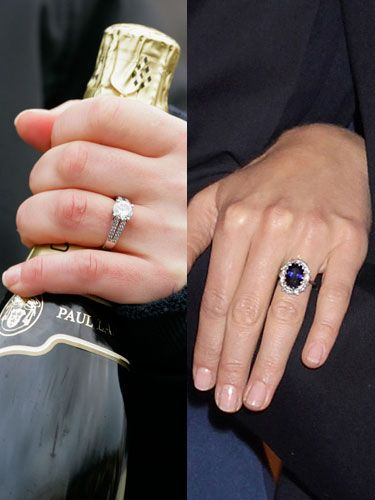 <p>Zara: A classic diamond engagement ring</p> <p>Mike Tindall didn't choose a family heirloom but instead popped the question with a brand new diamond and platinum ring he designed himself</p> <p>Kate: Princess Di's sapphire engagement ring</p> <p>Kate's 18 carat sapphire engagement ring is a precious family heirloom and once belonged to Prince William's mum, Princess Diana</p>