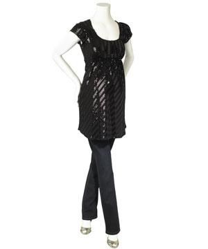 <p>Flowing smock tops in metallic tones are easy to wear and glamorous, perfect for showcasing that pregnancy bloom, while blouson knitted tunics are both flattering and fashionable.</p><p>Black sequin stripe tunic £35</p><p>Rinse wash skinny jean £20</p><p>High heel peep-toe with ankle strap £25 </p>