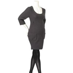 <p>Jersey tunic tops have long gathered sleeves for winter and feature key finishing details such as tie-backs. Knitted dresses in soft slate are pretty and cosy, teamed with either tights or leggings, while knitted sweaters sit neatly over high-waist, wide-leg jeans.</p><p>Grey tunic £28</p><p>Black maternity tights £4</p><p>Low heel peep-toe court £25 </p>
