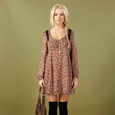<p>We are loving this gorge brown floral dress with long sleeves. Perfect for a summer festival or a day out in the park</p>