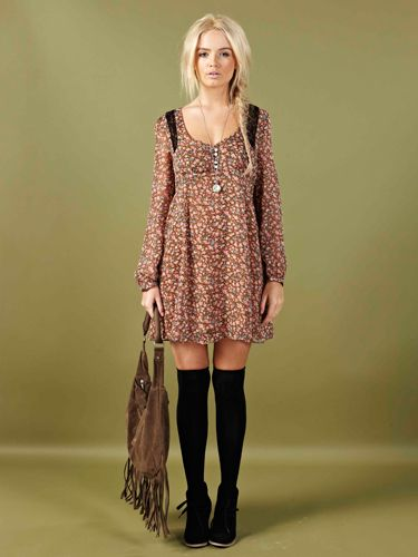 """<p>We are loving this gorge brown floral dress with long sleeves. Perfect for a summer festival or a day out in the park</p> <p>Clare dress £20, <a href=""""http://www.boohoo.com/new-in/clare-lace-georgette-floral-print-dress/invt/azz74108""""target=""""_blank"""">boohoo.com</a></p>"""