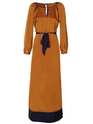 Brown, Yellow, Sleeve, Shoulder, Dress, Textile, Standing, Orange, One-piece garment, Formal wear,