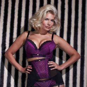 <p>This super plunge bra really has the wow factor with luxurious purple satin and stunning scallop-edged fishnet lace. Padded - with matching suspenders available - for extra va-va-vroom. A lust-have! </p>