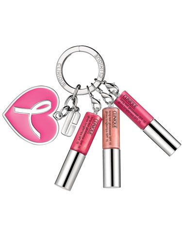 <p>Get this key ring hanging off your bag and you'll never need to fumble frantically in your bag for a lipgloss again. The Clinique Great Lips, Great Cause Key Ring features three bestselling shades – Clearly Pink, Air Kiss and Cabana Crush. </p> <p>£15, with £2 going to The Breast Cancer Research Foundation. Clinique.co.uk</p>
