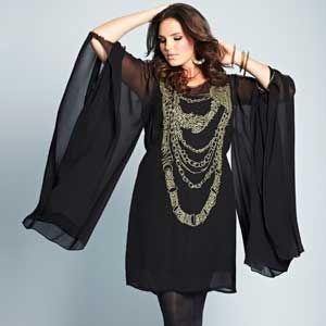 """Perfect for the party season, this showstopper of a dress features Zandra Rhodes fabulous necklace print and sparkly sequinned sleeves that be worn short or long. <br />  <br />  <em><a href=""""http://www.simplybe.co.uk/shop/product/details/show.action?pdLpUid=VX349&pdBoUid=4882&lpgUid=11148585#colour:BLACK,size:"""">Zandra Rhodes Necklace Tunic Dress</a>, £79</em><br />"""