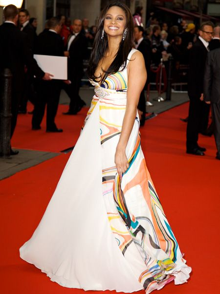 'Strictly Come Dancing' winner Alesha was bang on-trend in a colourful empire-line, swirl print gown   <br />