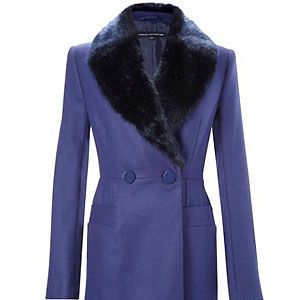 """Luxury at a snippet of the price: French Connection's regal blue double-breasted coat is oh-so glamorous. May we remind you once again, it's a bargain, coming in at a mere £100<p>£100, <a href=""""http://www.frenchconnection.com/product/Woman+Collections+Coats+And+Jackets/70YN6/The+London+Coat.htm"""">French Connection</a></p"""
