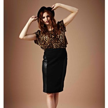 Leather pencil skirts are big news this season. Add some quirkiness and serious attitude with leopard-print accents - perfect for after work drinks