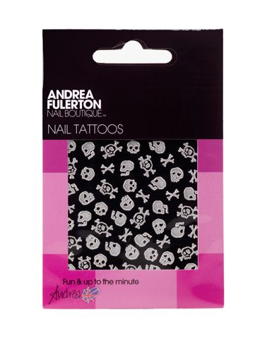 "<p>Oh yes, we've just stumbled upon temporary tats for your nails! These 'peel and place' nail tattoos come in spooky shapes like skulls and cross bones ideal for the scariest weekend of the year! Apply onto polish and then finish with a coat of gloss to seal the deal </p> <p>£1.99,<A HREF=""http://www.superdrug.com/nail-polish/andrea-fulerton-nail-tattoo-skull+cross-bones/invt/ 223325/&bklist="" TARGET=""_blank"">superdrug.com</A></p>"