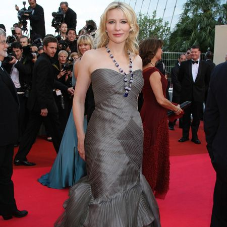 Who'd have thought Cate gave birth to her third child just last month? The actress looked stunning at the Indiana Jones premier in an Armani Prive gown and pretty Chopard necklace  <br />