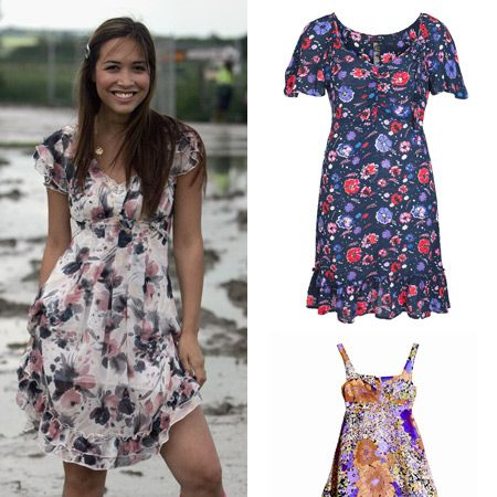 "This summer's biggest hit has got to be the floral print which, embodying country chic, makes it perfect for festivals. <br /><br />The high street is literally bursting with ditsy dresses meaning there's a flowery frock for every fashionista.<br /><br />Try teaming a Tea dress with wellies a la Myleene in this number from <a target=""_blank"" href=""http://xml.riverisland.com/flash/content.php"">River Island</a>, £29.99, or a sexy sun dress like this one from <a target=""_blank"" href=""http://www.hm.com/gb/#/startpagedefault/"">H&M</a>, £34.99, with some glads - weather permitting.<br /><br />"