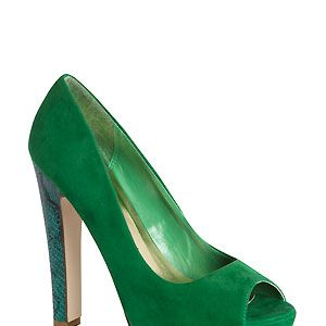 Fancy a bit of colour on your tootsies? How about this bright green pair with snakeskin heel and platform. Who needs a statement dress when you have a pair of statement heels?