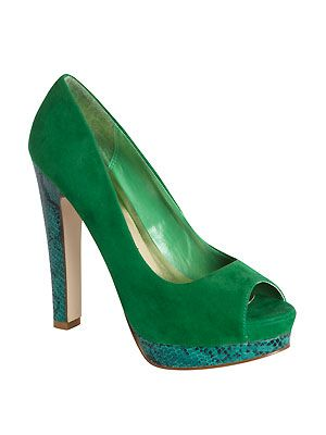"""Fancy a bit of colour on your tootsies? How about this bright green pair with snakeskin heel and platform. Who needs a statement dress when you have a pair of statement heels? <p>£16, <a href=""""http://www.primark.co.uk"""">Primark</a></p>"""