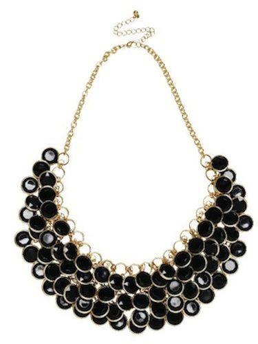 "Spice up a simple shift dress with this neckful of shimmer! The black and gold colour palette keeps things feeling decadent and grown up, whilst the playful nature of the multi-discs ensures that you won't feel too try-hard. <p>£7.99, <a href=""http://www.hm.com/gb/subdepartment/LADIES?Nr=90001#Nr=4294962529&size=100"">H&M</a></p>"