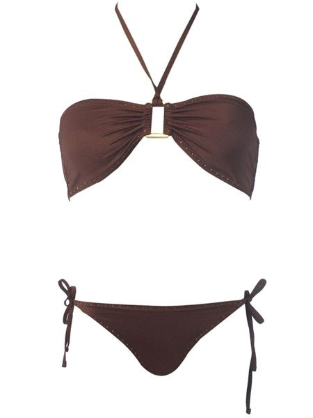 "<p>Straight talking stylist Gok Wan recommends this bandeau bikini for you 'Straight Up' ladies. <br /><br />He explains: ""This bikini will help you add womanly curves to your sexy straight up figure. The string ties on the bikini bottoms help add width to your hips and the generous cut of the bikini top will make your boobs appear bigger than they are.""</p><p> </p><p><strong>Chocolate bikini top, £8 and bottoms, £8 both <a target=""_blank"" href=""http://www.dorothyperkins.com/webapp/wcs/stores/servlet/TopCategoriesDisplay?storeId=12552&catalogId=20552"">Dorothy Perkins</a> </strong></p>"