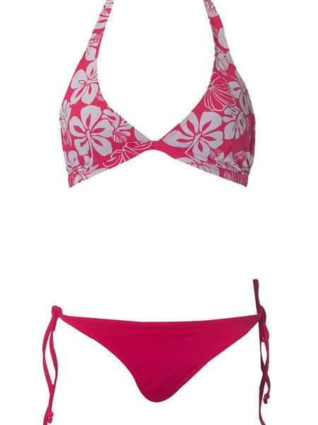 "Gok Wan recommends mixing and matching bikini styles in the same colour if you're bottom heavy.<br /><br />The super stylist says: ""Your bum will love these hot pink bikini bottoms! A one block colour is your best choice to keep your hot tush looking on the smaller side. By wearing with a patterned colour bikini top, the attention will go to the top, so away from your fabulous derriëre. Use the tie of the halter neck to perkily pull your boobs upwards.""<br /><br /><strong>Flower print triangle bikini top, £6, hot pink bikini bottoms, £5, both <a target=""_blank"" href=""http://www.dorothyperkins.com/webapp/wcs/stores/servlet/TopCategoriesDisplay?storeId=12552&catalogId=20552"">Dorothy Perkins</a> </strong>"