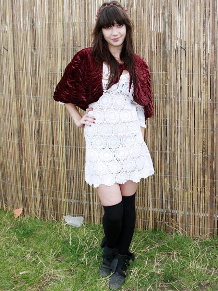 <p>Daisy brought some star style to Clapham Common for Get Loaded In The Park 2008 looking as fashion forward as ever in a lace dress, knee-high socks and flower head band</p>