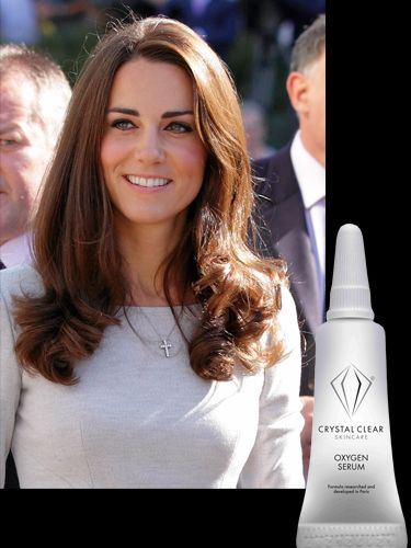 """<p>How did Kate decide to prep her skin ahead of her royal wedding? Not by drenching her body in diamonds and caviar but she simply popped to her local beauty salon and had a Crystal Clear Oxygen Therapy facial. the brightening treatment uses a jet system of oxygen to deliver anti-ageing serums into the deeper layers of the skin to stimulate circulation. The result? plumped, glowing skin fit for a queen!</p> <p>£110, <a href=""""http://crystalclear.co.uk/Products/Crystal_Clear_Oxygen_Serums.aspx"""" target=""""_blank"""">crystalclear.co.uk</a></p>"""
