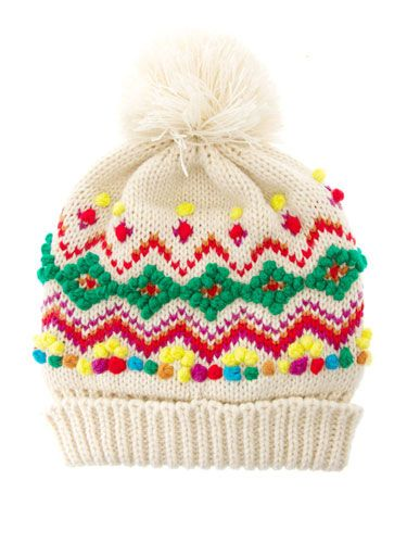"<p>It's all about geek-chic knits this winter and this bright bobble hat, with mini pom-pom trimmings, will capture the look perfectly.</p> <p>Hat, £15, <a href=""http://www.asos.com/"">ASOS</a></p>"