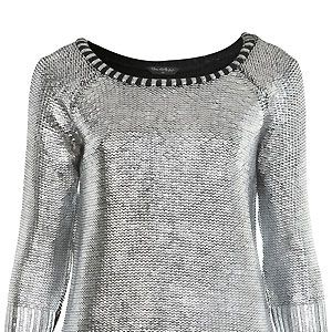 """<p>People are going crazy for metallic fashion right now - us included - which is why we're in awe of this silver foil jumper from Miss Selfridge. Make like us and team with leather leggings and sky-high sexy shoes for instant sex appeal</p><p>£42, <a href=""""http://www.missselfridge.com/webapp/wcs/stores/servlet/ProductDisplay?beginIndex=0&viewAllFlag=&catalogId=33055&storeId=12554&productId=3976694&langId=-1&sort_field=Relevance&categoryId=208023&parent_categoryId=208022&pageSize=200"""">Miss Selfridge</a></p>"""