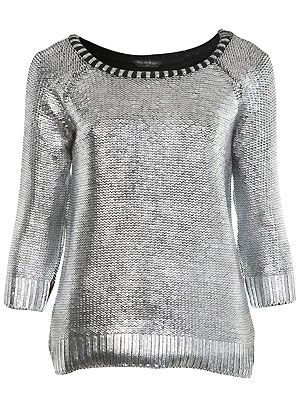 "<p>People are going crazy for metallic fashion right now - us included - which is why we're in awe of this silver foil jumper from Miss Selfridge. Make like us and team with leather leggings and sky-high sexy shoes for instant sex appeal</p> <p>£42, <a href=""http://www.missselfridge.com/webapp/wcs/stores/servlet/ProductDisplay?beginIndex=0&viewAllFlag=&catalogId=33055&storeId=12554&productId=3976694&langId=-1&sort_field=Relevance&categoryId=208023&parent_categoryId=208022&pageSize=200"">Miss Selfridge</a></p>"