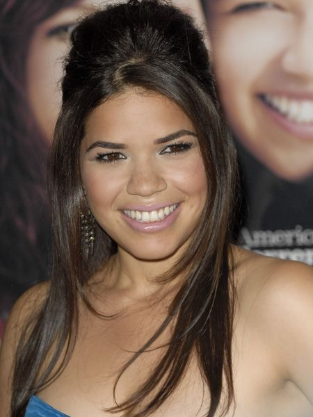 <p>The 'Ugly Betty' star looked beautiful with her locks half straight and sleek / half backcombed beehive, showing how big hair will be big news next season </p>