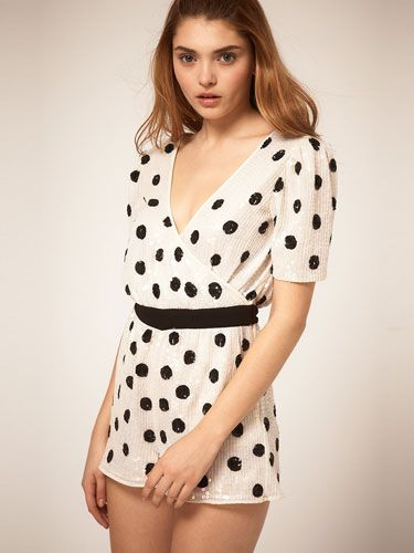 """<p>Add a playful twist to your Christmas and New Year festivities with this super-cute, sequin polka dot playsuit. Wear with black tights to ward off winter chills, or save it for a house party and dare to bare!</p> <p></p>Playsuit, £65, <a href=""""http://www.asos.com"""">asos.com</a>"""