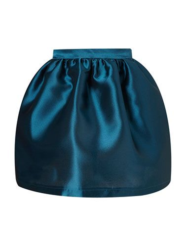 """<p>With its high-shine finish and luxe deep blue colour, this gorgeous skirt is an instant party piece. Wear with a crisp white shirt and stilettos for chic Christmas cocktails.</p> <p></p>Skirt, £70, <a href=""""http://www.topshop.com"""">topshop.com</a>"""