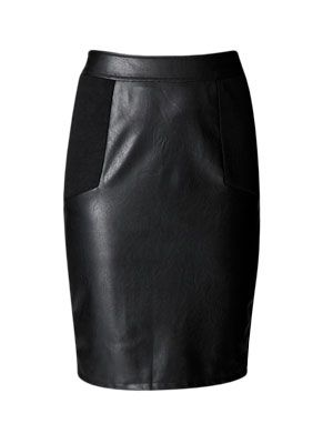 <p>Plether is the hot fabric for autumn/winter and this chic knee-length skirt looks fantastic teamed with a rock t-shirt of more tailored top.</p>