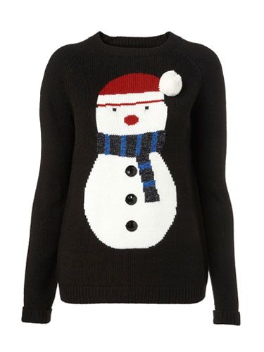 "<p>What could be more festive than this cute snowman jumper? Perfect for cosying up in after your Christmas dinner.</p> <p>Jumper, £50, <a href=""http://www.topshop.com"">topshop.com</a></p>"