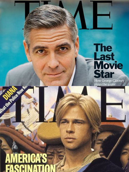 <p>They've both graced many a mag - but who's your favourite pin up, George or Brad?</p>