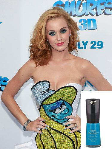 "<p>Katy Perry gives a nod to the Smurfs. Try No.7 Stay Perfect Nail Colour in Stand Back, £7, <a href=""http://www.boots.com"" target=""_blank"">boots.com</a>, for a more grown-up rendition of Smurf blue<br /><br /></p>"