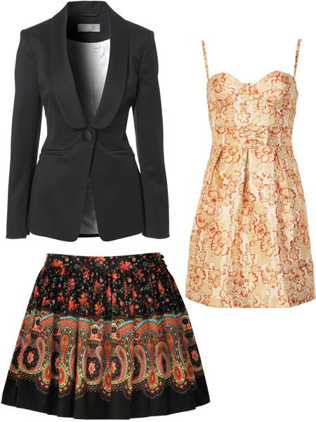 <p>This tailored jacket is great for nipping in your waist. With dresses; stick to a simple shape to avoid looking OTT but go for bold colour and prints. The higher the hemline the better for little ladies! This boho skirt will show off your fabulous legs. </p><p> <br />Jacket £70 Wallis, Skirt £12 George at Asda, Dress £12 George at Asda.  </p>