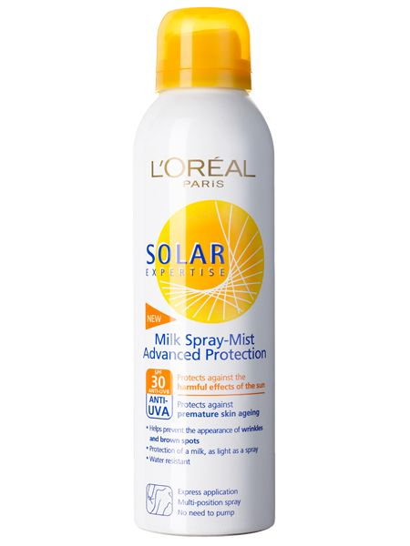 <br />L'Oréal Paris Solar Expertise Milk Spray Mist SPF 30, £15<br />