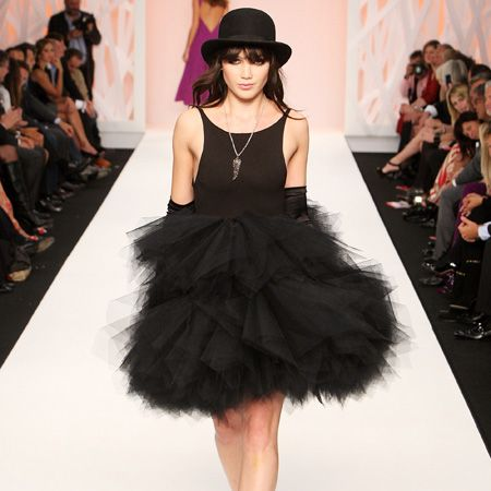 "<p class=""MsoNormal"">The fashion pack is out in force to see and been seen at the hottest shows and parties for LFW, Spring/Summer 2009</p>      <p> <br />Left: Newly single Daisy Lowe took to the catwalk for Naomi Campbell's Fashion For Relief charity fashion show encased in layers of black netting accessorised with sky scraper platforms and a bowler hat</p>    <p class=""MsoNormal""><br /></p>  <p class=""MsoNormal""> </p>"