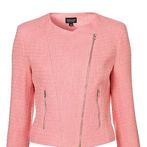 """<p>This jacket is so hip it hurts. This season's neon boucle styled in the ever-classic biker jacket shape and all for an affordable £65? Praise be, Toppers! Our wardrobes are ever-thankful.<br /><br />Boucle biker jacket, £65, <a title=""""Topshop"""" href=""""http://www.topshop.com/webapp/wcs/stores/servlet/ProductDisplay?beginIndex=0&viewAllFlag=&catalogId=33057&storeId=12556&productId=4958655&langId=-1&sort_field=Relevance&categoryId=277012&parent_categoryId=208491&pageSize=200%20"""" target=""""_blank"""">Topshop</a></p>"""