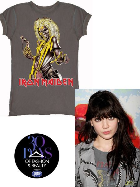 "<p>The rock chick tee is a staple for this season's wardrobe. It portrays punk luxe perfectly under a boxy biker jacket or, if you dare, teamed with glossy leggings and heavy metal accessories.</p>    <p> <br />Model of the moment Daisy Lowe sported Amplified's Iron Maiden T shirt at Fashion Week and you'll be pleased to hear it doesn't come with a designer price tag.</p>    <p> <br />£20, from <a target=""_blank"" href=""http://www.sugarbullets.co.uk/ladies-iron-maiden-tshirt-from-amplified-vintage-p-320.html"">www.sugarbullets.co.uk</a></p>"