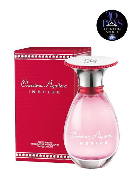 <p>Inspire is the new fragrance from pop princess Christina Aguilera</p>  <p> </p>  <p>A white floral fragrance with fruity top notes in a perfectly pear-shaped bottle, the heart of the perfume is a combination of Christina's three favourite flowers tuberose, rose and gardenia.</p>  <p> </p>    <p>Available now at Boots stores nationwide from a purse-pleasing £19<br /> </p>