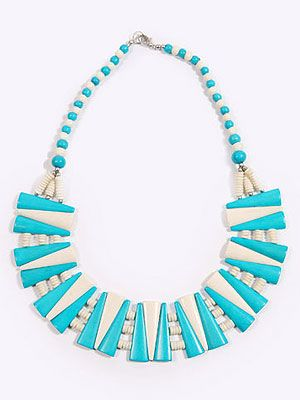 "<p>There's a party happening right on your neck! Statement necklaces are SO having a moment, and this bright bib style is spring fresh. It'll add a certain kapow factor to the dullest of outfits.</p> <p><br />Geometric bib necklace, £24, <a title=""Urban Outfitters"" href=""http://www.urbanoutfitters.co.uk/geometric-bib-necklace/invt/5762406395454/&bklist=%20"" target=""_blank"">Urban Outfitters</a></p>"